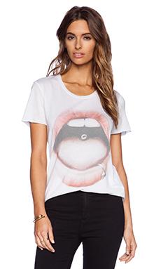 Zoe Karssen Pierced Lip Tee in Optical White