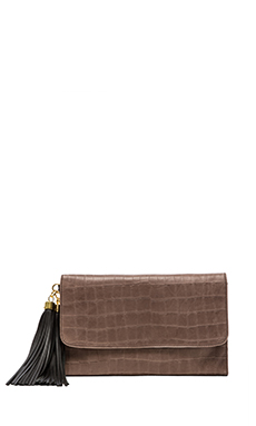 Zac Zac Posen Claudette Large Foldover Clutch in Stucco Croc