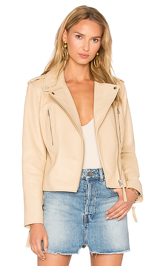 DEREK LAM 10 CROSBY Leather Jacket in White
