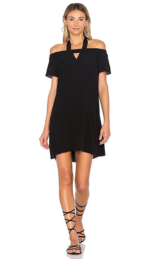 1 STATE Halter Cold Shoulder Shift Dress in Black
