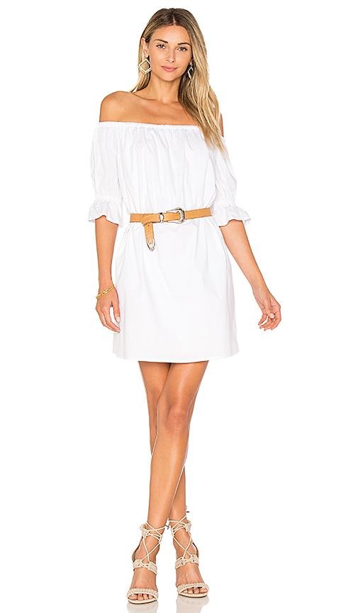 1 STATE Off Shoulder Smocked Sleeve Shift Dress in White