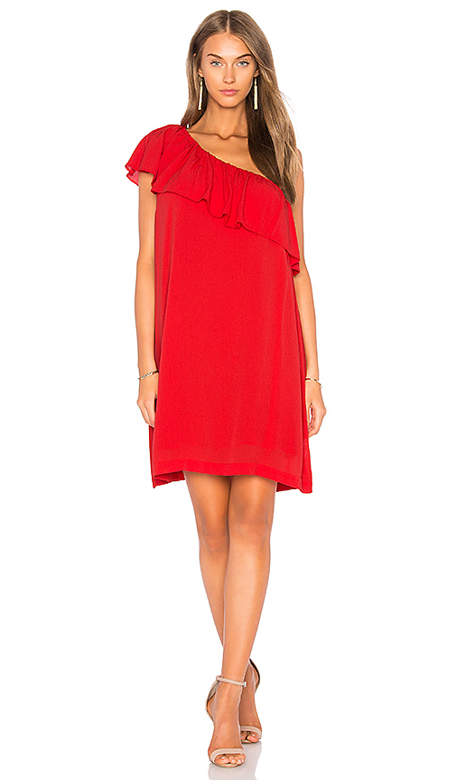 1 STATE One Shoulder Ruffle Edge Dress in Red