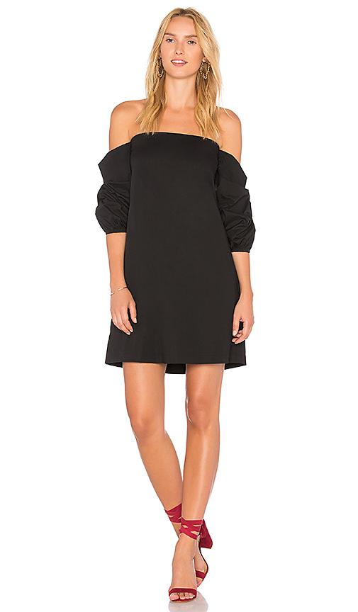 1 STATE Off Shoulder Voluminous Sleeve Dress in Black