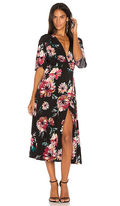 1 STATE Wrap Front Maxi Dress in Black