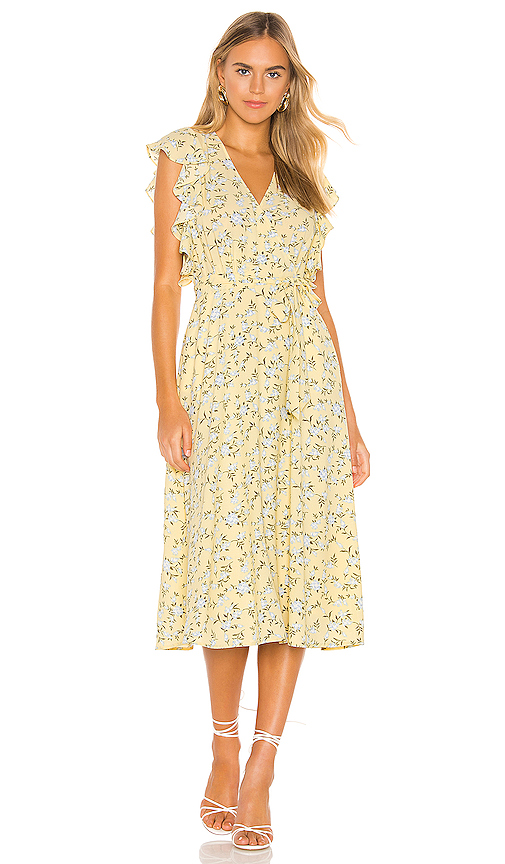 1.state Dresses 1. STATE BLOSSOM CLUSTER FLOUNCE SLEEVE WRAP DRESS IN HONEYSUCKLE