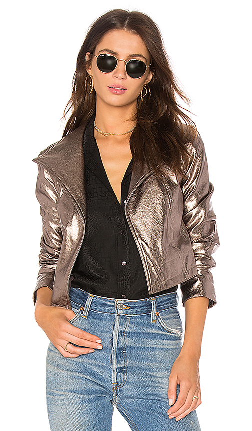 1. STATE Cropped Jacket in Metallic Silver