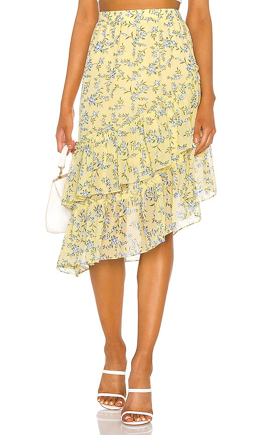 1.state Skirts 1. STATE TIERED ASYMMETRICAL BLOSSOM CLUSTER SKIRT IN YELLOW.
