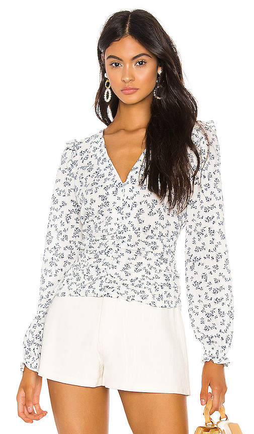 1.state Tops 1. STATE BUTTON FRONT AFTERNOON BOUQUET BLOUSE IN WHITE.