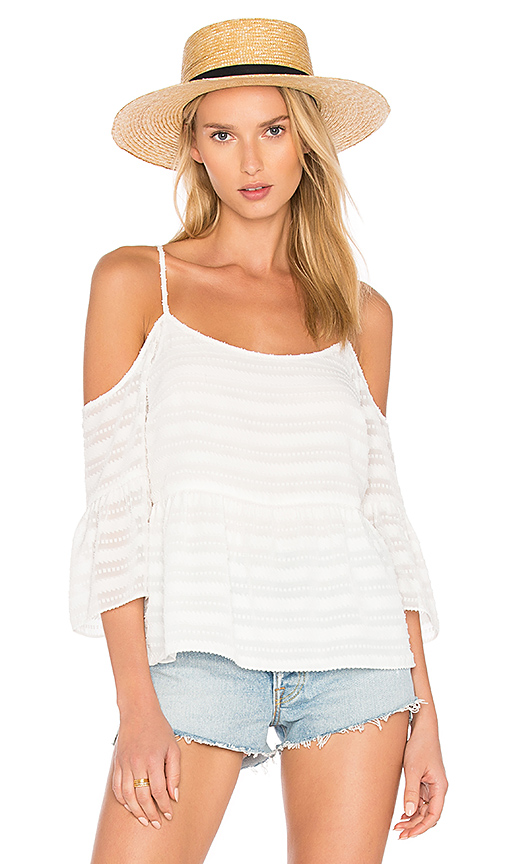 1 STATE Cold Shoulder Ruffle Sleeve Blouse in White