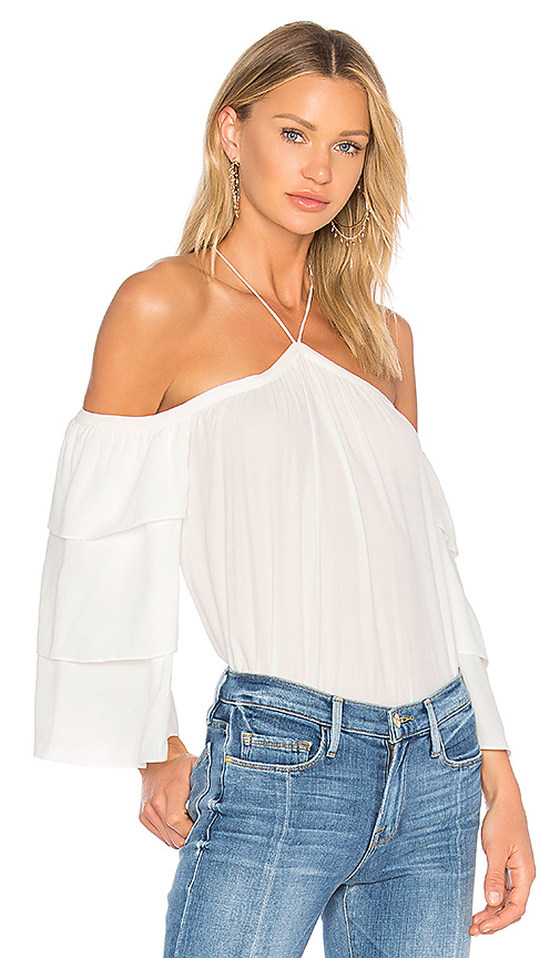 1 STATE Cold Shoulder Tiered Sleeve Blouse in Ivory