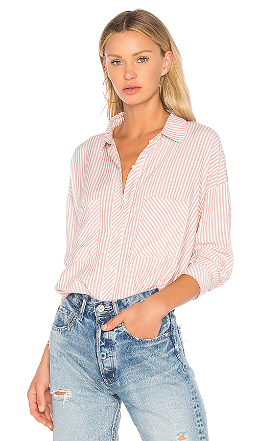 1. STATE Patch Pocket High Low Blouse in Pink. - size L (also in M,S,XS)