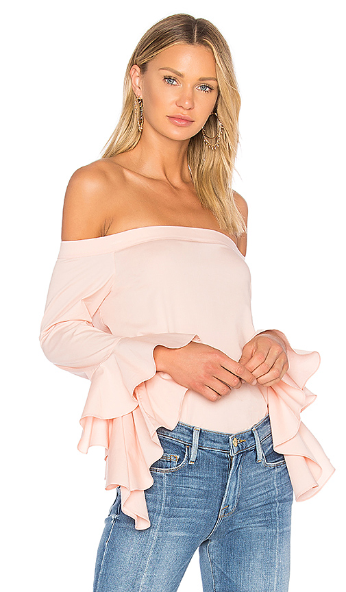 1. STATE Off Shoulder Cascade Sleeve Top in Pink