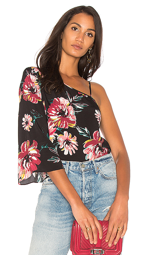 1 STATE One Shoulder Flounce Sleeve Blouse in Black
