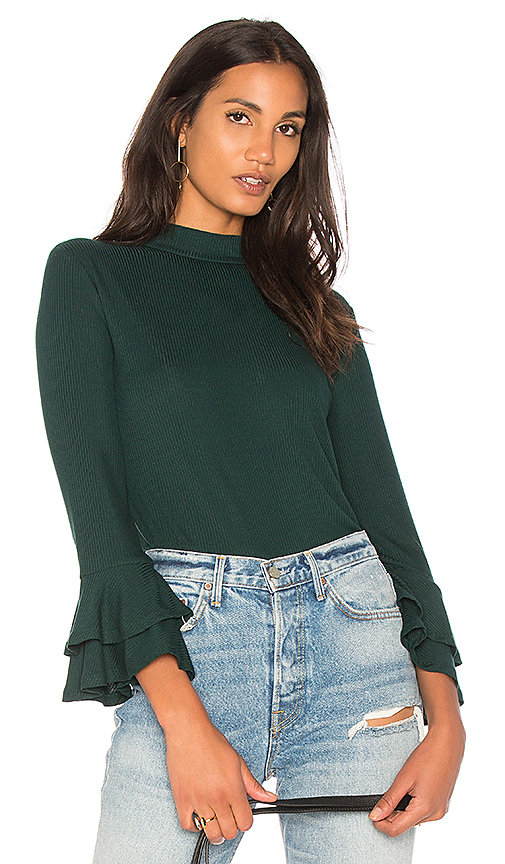 1 STATE Mock Neck Top With Double Ruffle Cuff in Green