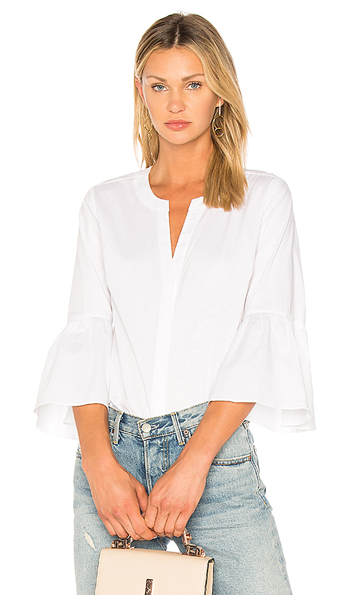 1 STATE Bell Sleeve Button Down Blouse in White