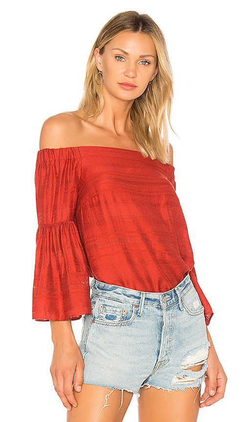 1 STATE Off Shoulder Bell Sleeve Blouse in Red