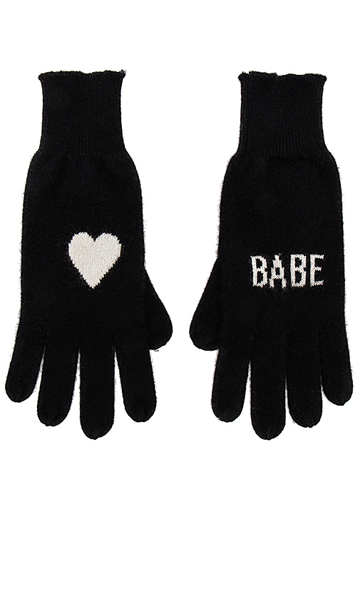 360CASHMERE Babe Gloves in Black.