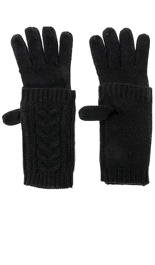 360CASHMERE Bruna Cashmere Gloves in Black.