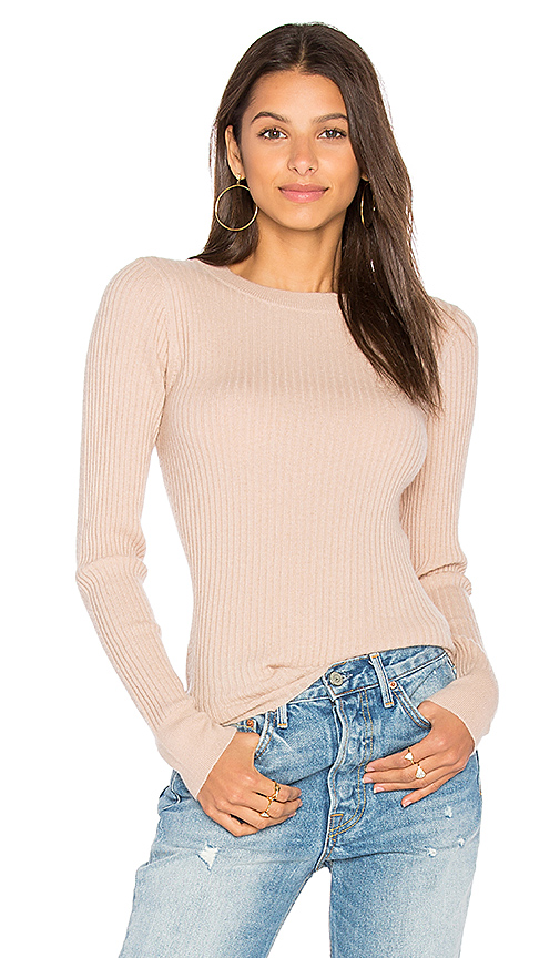 360 Sweater Kelsey Ribbed Sweater in Beige. - size M (also in S,XS)
