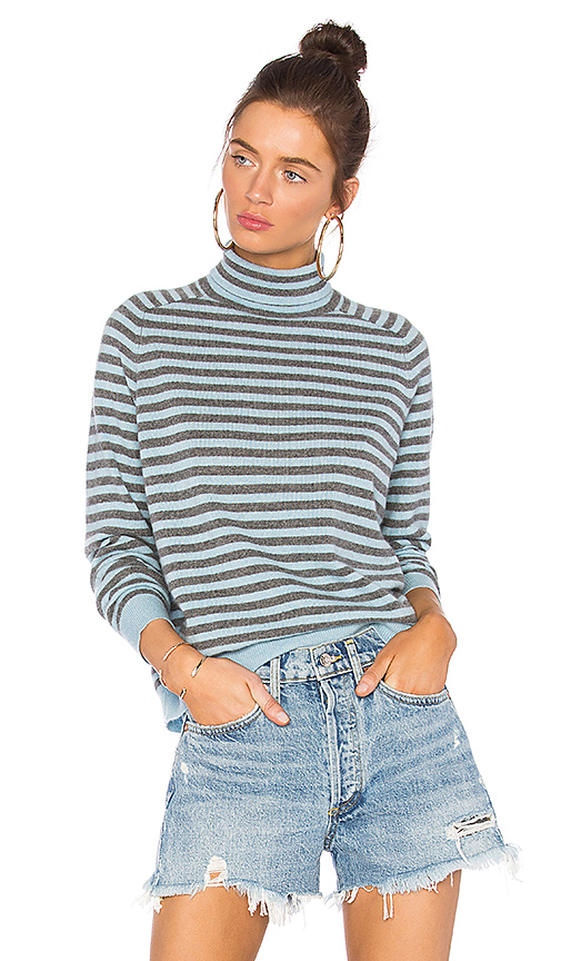 360CASHMERE Erika Striped Sweater in Gray. - size L (also in S,XS,M)