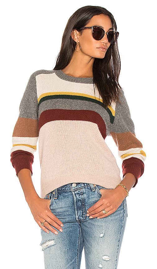 360CASHMERE Emelina Stripe Sweater in Pink. - size L (also in XS,M)