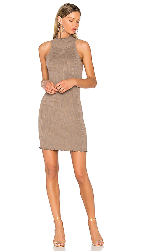 525 america Mock Neck Sweater Dress in Nude