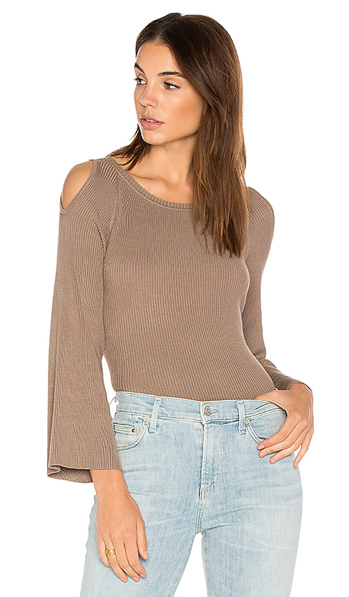 525 america Cut Out Shoulder Sweater in Taupe. - size M (also in S,XS)