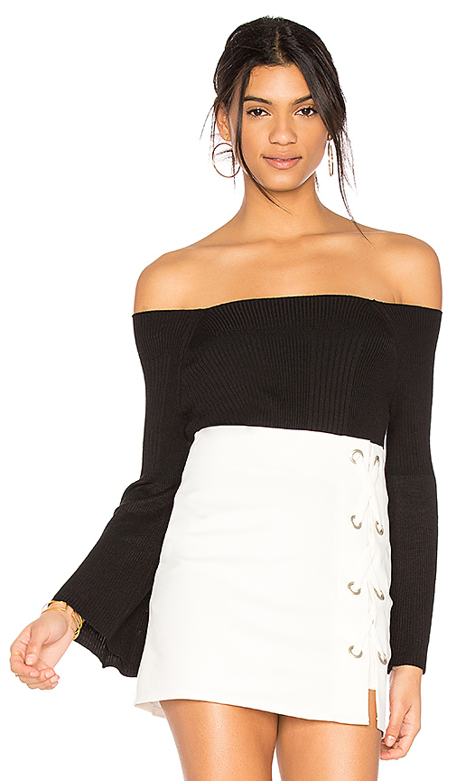 525 america Off Shoulder Sweater in Black. - size M (also in S,XS)