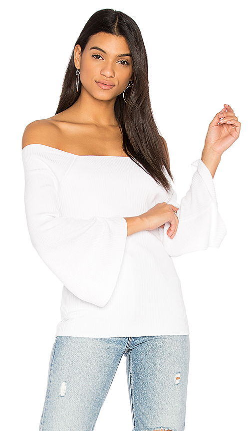 525 america Off Shoulder Sweater in White. - size L (also in M,S,XS)