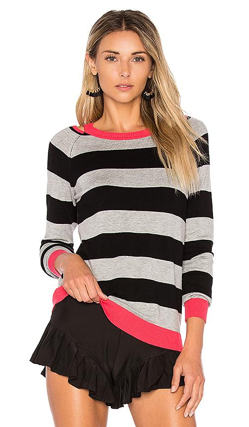 525 america Cut Out Rugby Stripe Sweater in Black. - size L (also in M,S,XS)
