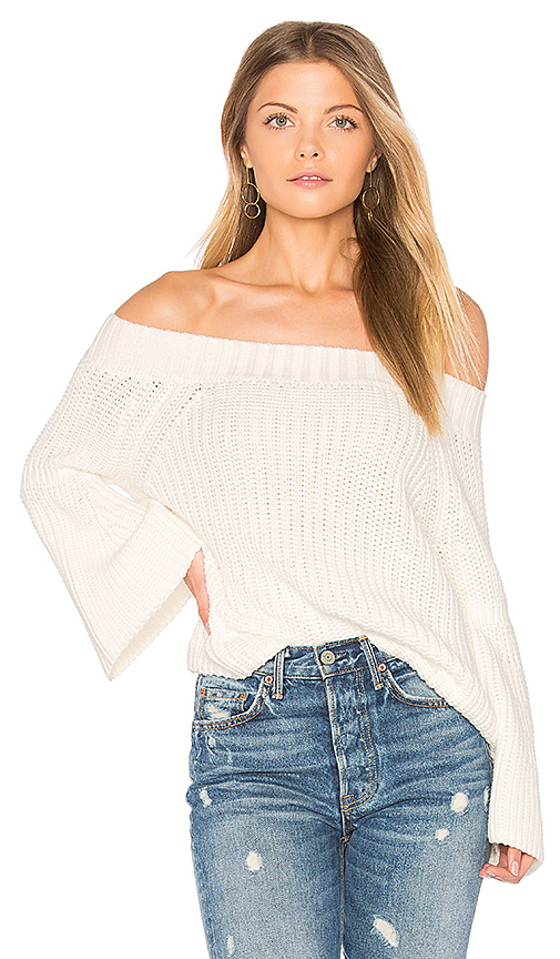 525 america Off Shoulder Tulip Sweater in Ivory. - size L (also in M,S,XS)