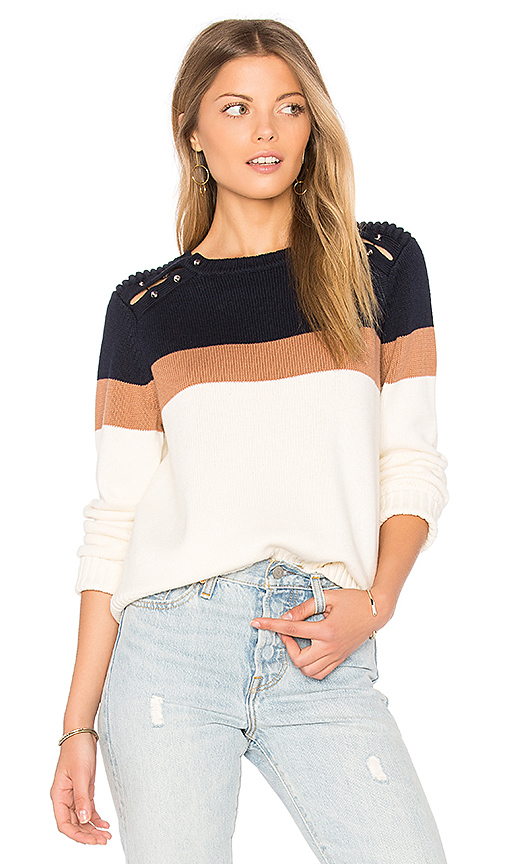 525 america Stripe Shoulder Barbell Sweater in Navy. - size M (also in L,S)