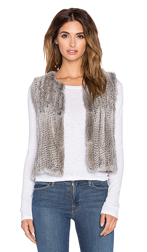 525 america Real Natural Rabbit Fur Vest in Gray. - size M (also in XS)