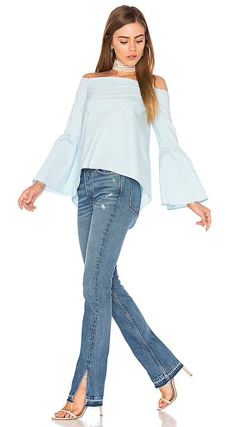 525 america Bell Sleeve Off Shoulder Top in Blue. - size S (also in XS)