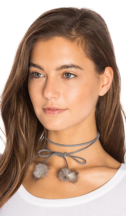 8 Other Reasons Rabbit Fur Pom Pom Wrap Necklace in Gray
