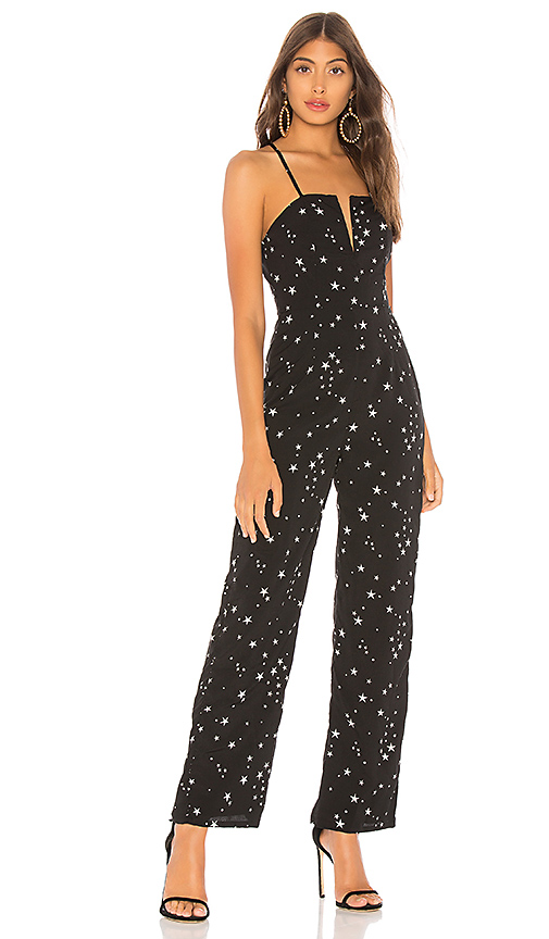 About Us Aaron Wire Wide Leg Jumpsuit in Black & White