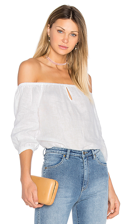 YFB CLOTHING Globe Top in White. - size L (also in S,XS)