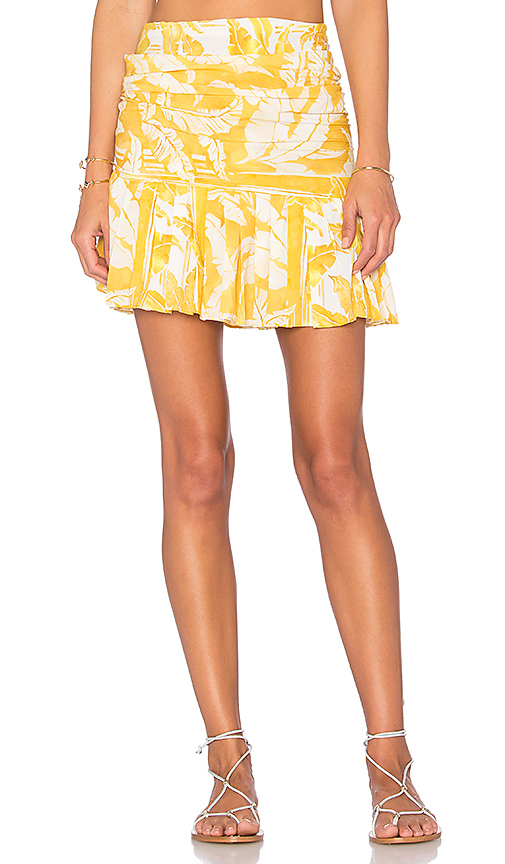ADRIANA DEGREAS Tropical Leaves Skirt in Yellow.
