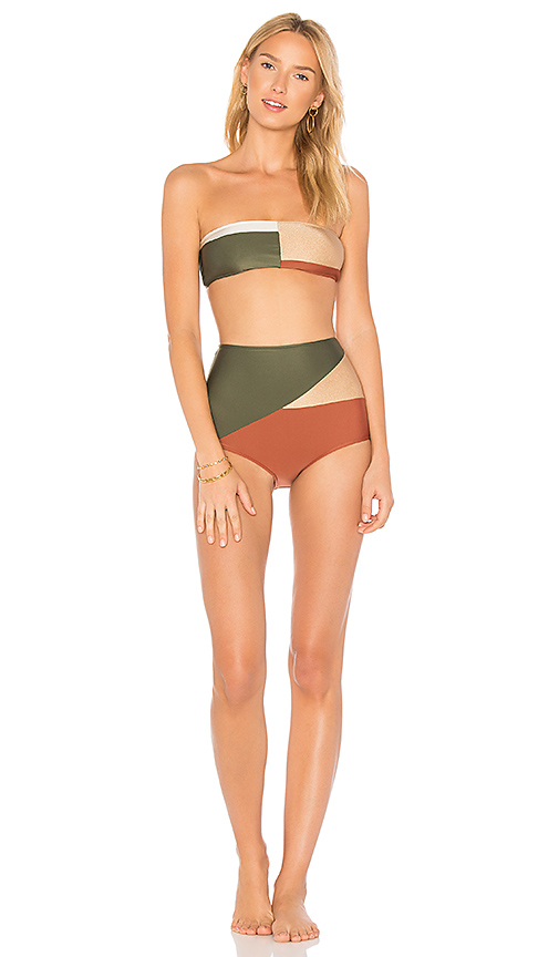 ADRIANA DEGREAS Classic Bandeau Hot Pant Set in Green. - size L (also in M,S)