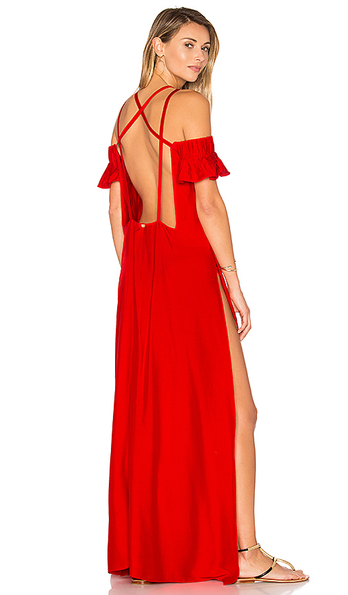 ADRIANA DEGREAS Solid Strappy Dress in Red