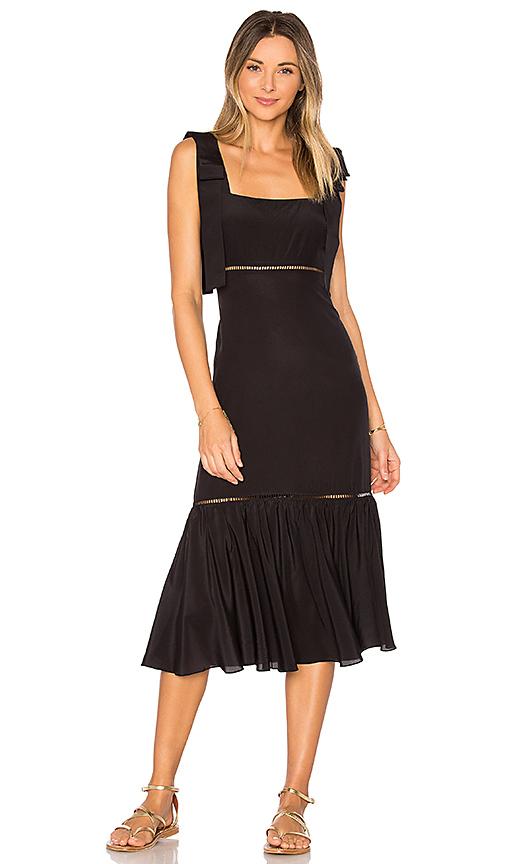 ADRIANA DEGREAS Solid Midi Dress in Black. - size M (also in S)