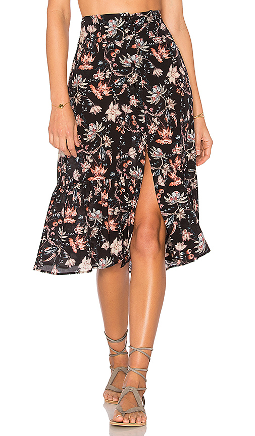 ADRIANA DEGREAS Chinoiserie Midi Skirt in Black. - size 40 (also in 42)