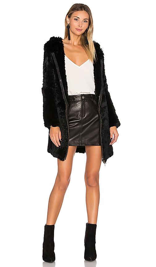 Adrienne Landau Knit Rabbit Fur Long Hoodie in Black