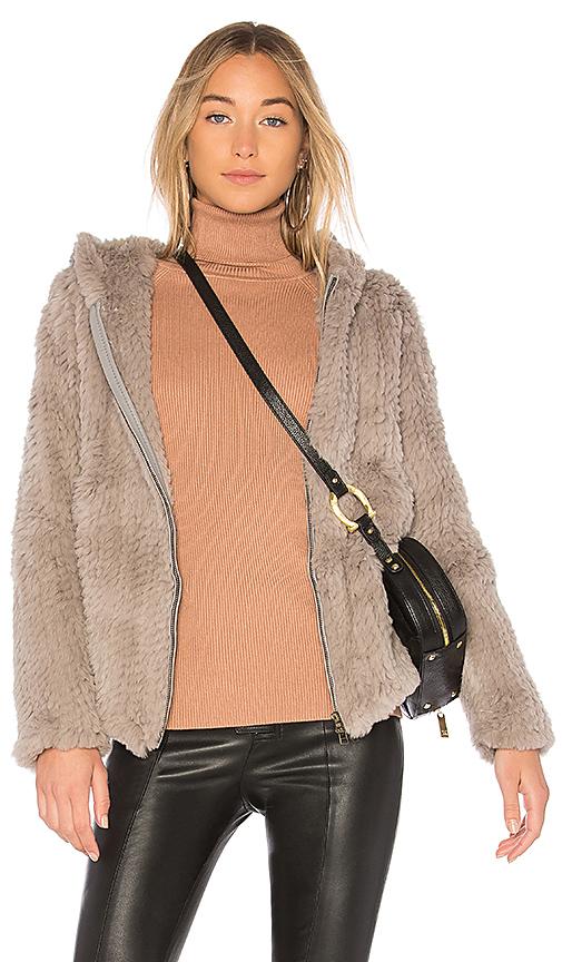 Adrienne Landau Knit Rabbit Hoodie in Gray