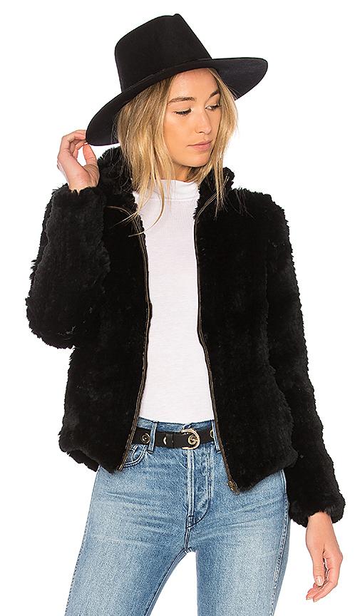 Adrienne Landau Knit Rabbit Zip Jacket in Black