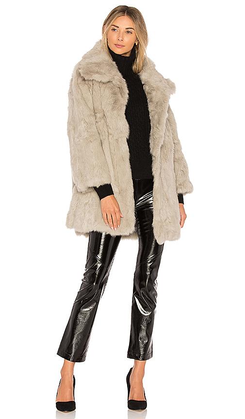 Adrienne Landau Textured Rabbit Coat in Gray