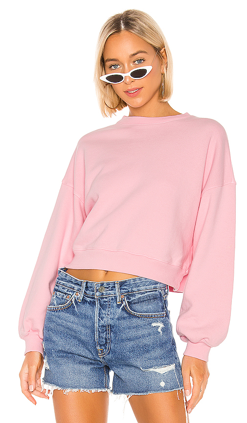 Agolde T-shirts AGOLDE BALLOON SLEEVE CROPPED SWEATSHIRT IN PINK.