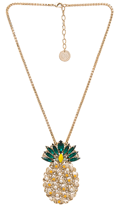Anton Heunis Pineapple Pendant Necklace in Metallic Gold.