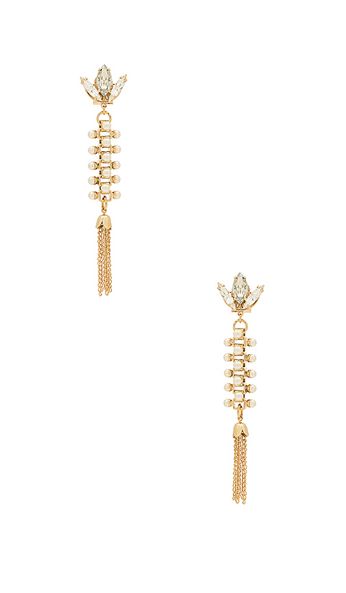 Anton Heunis Amazonia Pearl and Crystal Tassel Earring in Metallic Gold