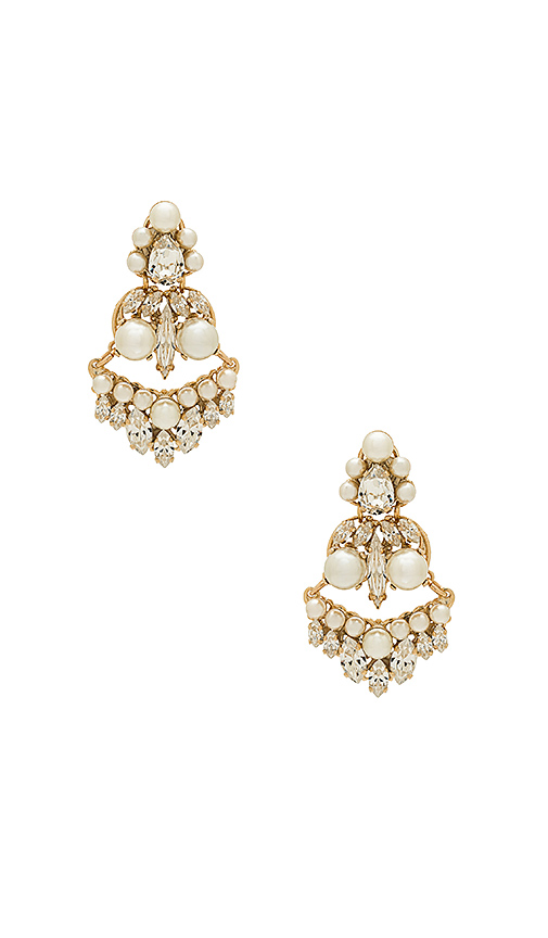 Anton Heunis Amazonia Pearl and Crystal Earring in Metallic Gold.